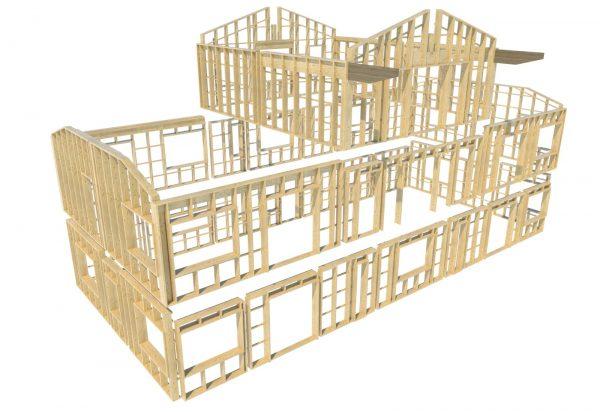 2020-08-17  47 stycken unika väggar prefabriceras i en verkstad på uppdrag av BD Bygg. Dessa kommer sedan färdiga för montage med isolering, fönster och dörrar installerade.